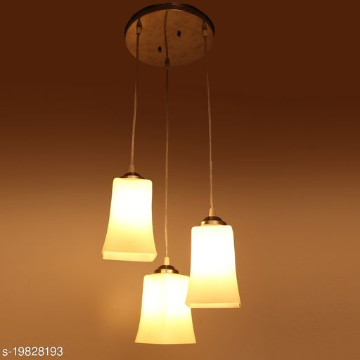 Afast Hanging Ceiling Lamp Of 3 Decorative Glass Shade In,1 Metal Fitting VG37