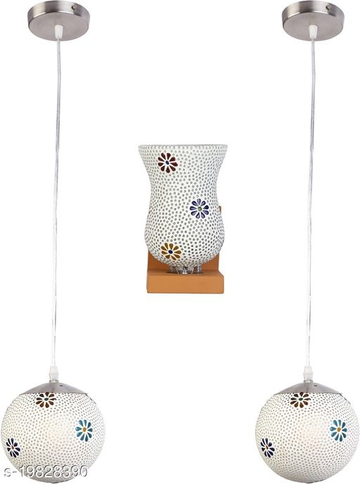 Afast Combo Of 1 Wall Lamp & 2 Colorful Decorative Hanging Globe