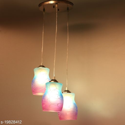 Afast Hanging Ceiling Lamp Of 3 Decorative Glass Shade In,1 Metal Fitting VG39