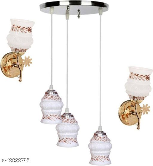 Afast Pandent Three Hanging Ceiling Lamp Como With Two Matching Wall Lamp Of Colorful & Decorative Glass Shade-Do60