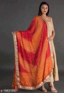 Attractive New Gorgeous Rajasthani Art Silk Printed Bandhej Dupatta For Women's & Girl's Free Size