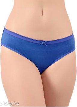 Women Hipster Blue Cotton Blend Panty