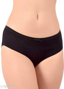 Women Hipster Black Cotton Blend Panty