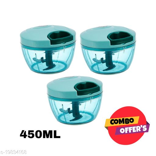 Lanz Combo XL 450ml Plastic Handy Dori Chopper with 3 Blades + Whisker Blade (Pack of 3)