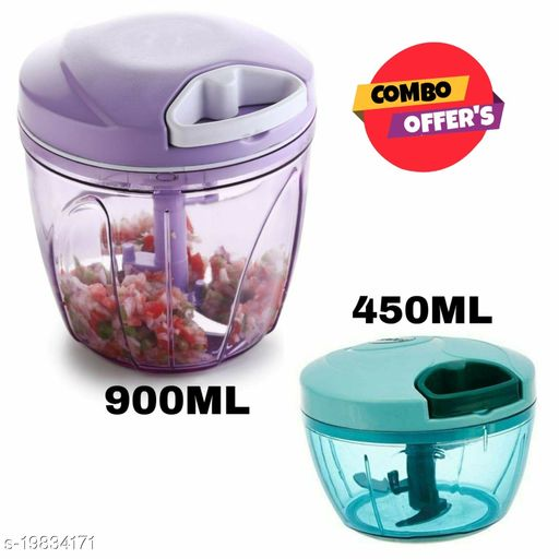 Lanz 450ml + 900ml Vegetable Chopper, Cutter, Mixer for Kitchen with 5 Stainless Steel + Whisker Blade (Pack of 2)