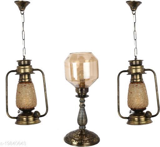 Afast Combo Antique & Designer Hanging Lantern Lamps & Table Lamp With Decorative Colorful Glass A Complete Unique Decorative Set -A28