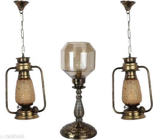 Afast Combo Antique & Designer Hanging Lantern Lamps & Table Lamp With Decorative Colorful Glass A Complete Unique Decorative Set -A31