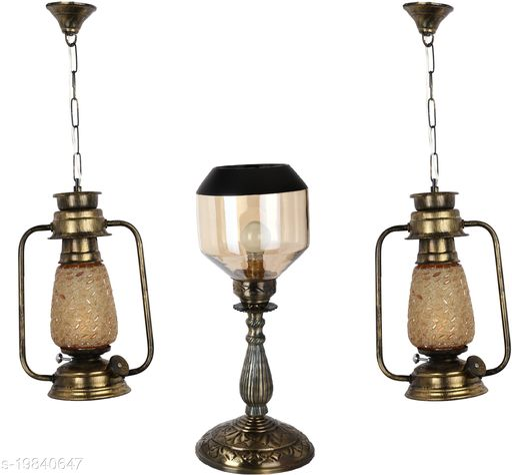 Afast Combo Antique & Designer Hanging Lantern Lamps & Table Lamp With Decorative Colorful Glass A Complete Unique Decorative Set -A29