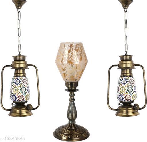 Afast Combo Antique & Designer Hanging Lantern Lamps & Table Lamp With Decorative Colorful Glass A Complete Unique Decorative Set -A3