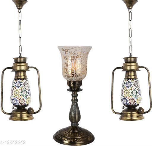 Afast Combo Antique & Designer Hanging Lantern Lamps & Table Lamp With Decorative Colorful Glass A Complete Unique Decorative Set -A6