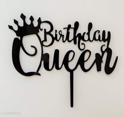 SURSAI Black Birthday Queen with Crown Design Cake Topper for Decoration