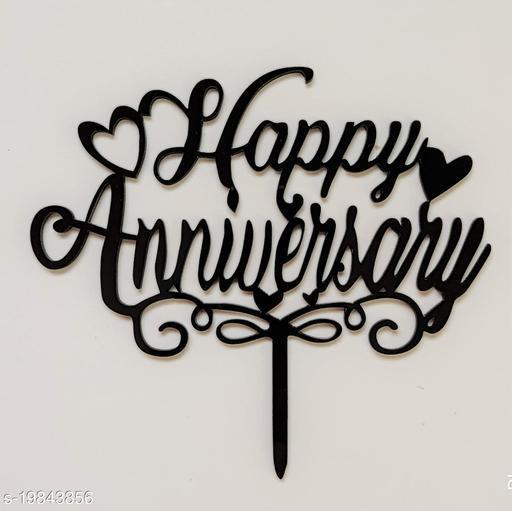 SURSAI Black New Design Happy Anniversary Cake Topper for Decoration
