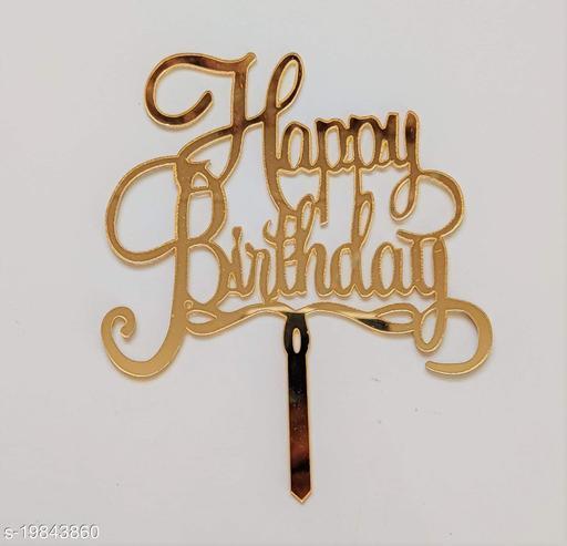 SURSAI Mirror Gold Cake Decoration Happy Birthday Cake Topper