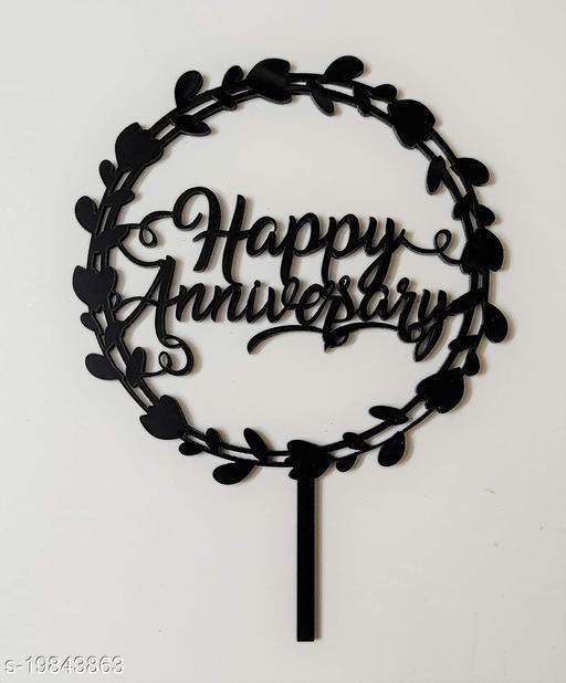 SURSAI Black Round Design Happy Anniversary Cake Topper