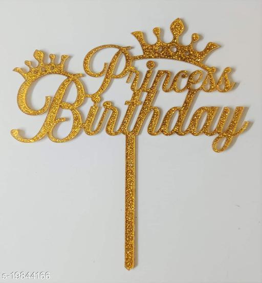 SURSAI Golden Zari Princess Birthday Cake Topper for Happy Birthday Decoration