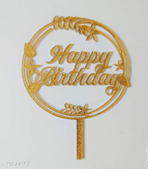 SURSAI Golden Zari Round Design Happy Birthday Cake Topper for Decoration