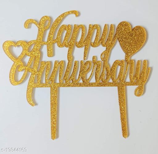 SURSAI Golden Zari Happy Anniversary Cake Topper with Heart Design for Decoration