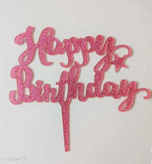 SURSAI Best Pink Zari Happy Birthday Cake Topper for Decoration