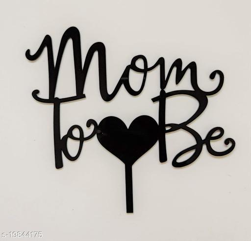 SURSAI Black Heart Design MOM to BE Cake Topper for Decoration