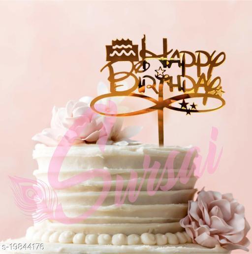SURSAI Mirror Golden Cake Design Happy Birthday Cake Topper for Decoration