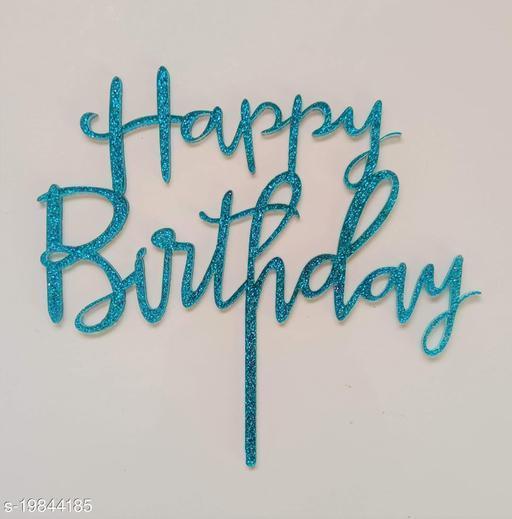 SURSAI Blue Zari Happy Birthday Cake Topper for Decoration