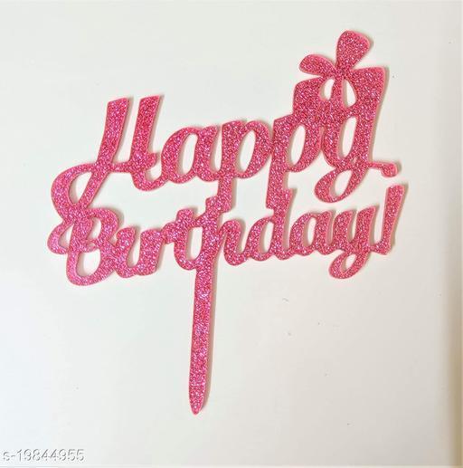 SURSAI Pink Zari Gift Box Happy Birthday Cake Topper for Decoration