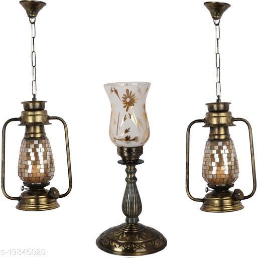 Afast Combo Antique & Designer Hanging Lantern Lamps & Table Lamp With Decorative Colorful Glass A Complete Unique Decorative Set -A50
