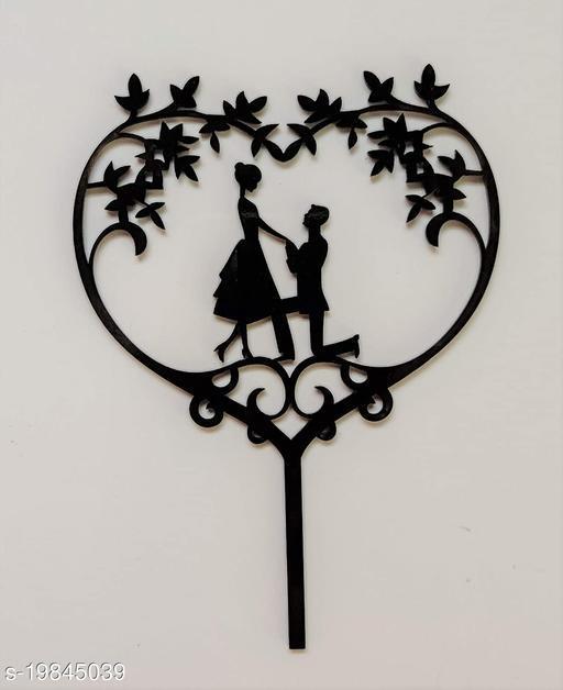 SURSAI Black Couple Propose Heart Design Cake Topper for Decoration