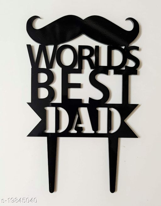 SURSAI Black Cake Topper for Our First Hero (Worlds Best DAD) Design Cake Topper,