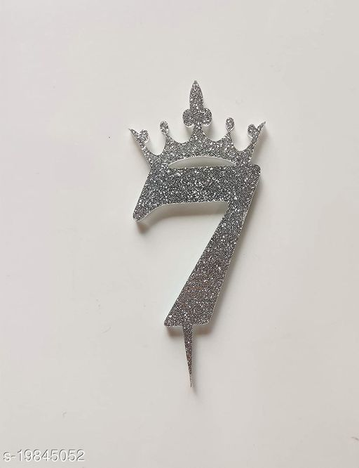 SURSAI Silver Zari With Crown Design 7 Number Cake Topper for Decoration