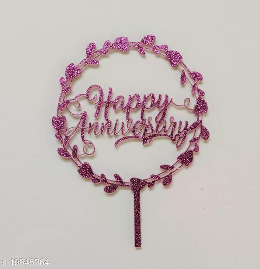 SURSAI Purple Zari Round Design Happy Anniversary Cake Topper for Decoration