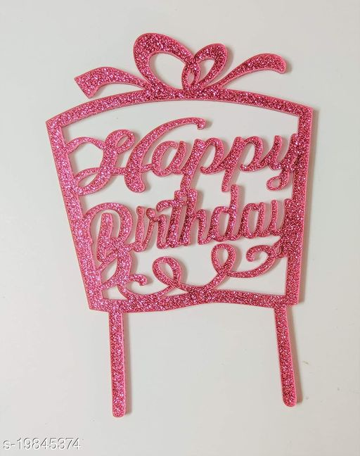 SURSAI Pink Zari Happy Birthday Gift Box Cake Topper for Decoration