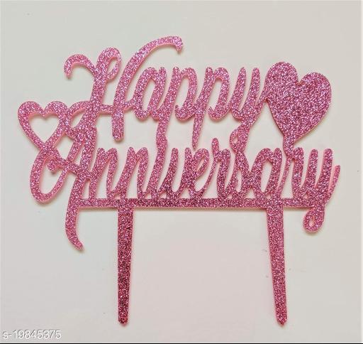 SURSAI Pink Zari Heart Design Happy Anniversary Cake Topper for Decoration