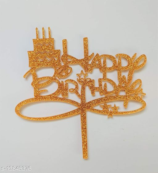 SURSAI Golden Zari Cake Design Happy Birthday Cake Topper for Decoration