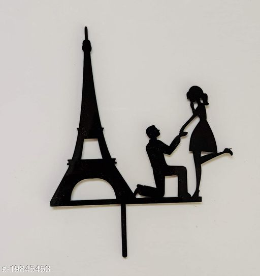 SURSAI Black Couple Eiffel Tower Propose Design Cake Topper for Wedding | Marriage | Reception | Party | Anniversary