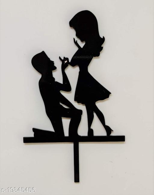 SURSAI Black Couple Propose Design Cake Topper for Decoration