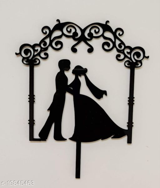 SURSAI Black Couple Wedding Design Cake Topper for Decoration