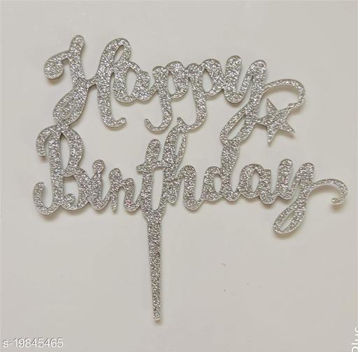 SURSAI Silver Zari Happy Birthday Cake Topper for Decoration