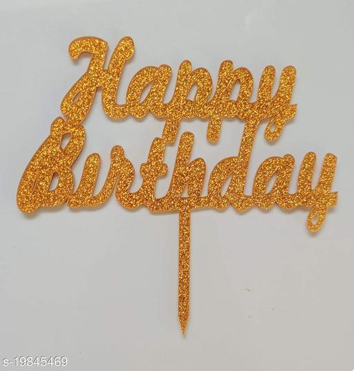SURSAI Golden Zari Bold Letter Happy Birthday Cake Topper for Decoration