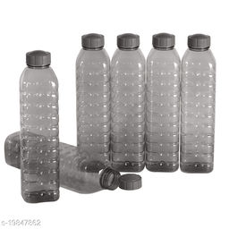 Saura Cubic Fridge Bottle 1000 ml Set of 6 Smoke Black