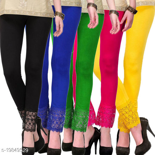 Lets Shine stylish Lace Leggings (Pack of 5) for Girls & Women-Size 28 to 36 & Free Size (Black,Blue,Green,Pink & Yellow)