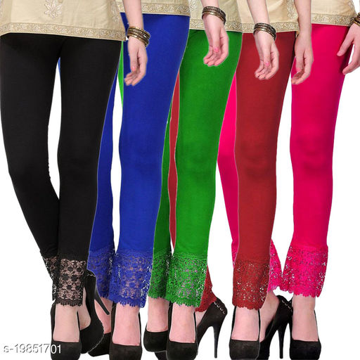 Style Pitara stylish Lace Leggings (Pack of 5) for GirSP & Women-Size 28 to 36 & Free Size (Black,Blue,Green,Maroon & Pink)