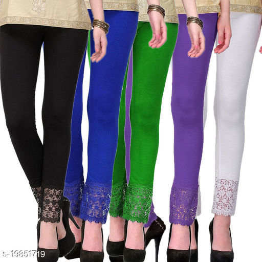 Style Pitara stylish Lace Leggings (Pack of 5) for GirSP & Women-Size 28 to 36 & Free Size (Black,Blue,Green,Purple & White)