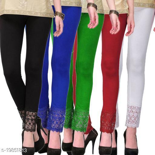 Style Pitara stylish Lace Leggings (Pack of 5) for GirSP & Women-Size 28 to 36 & Free Size (Black,Blue,Green,Maroon & White)