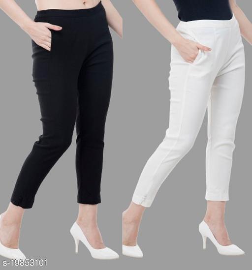 Women stylish Cotton Blend Trousers/Pants  Combo of 2