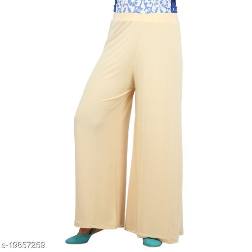 Lets Shine stylish Cheap & Best casual wear palazzo pant for females,Cream ( Size 28 to 36 & Free Size)