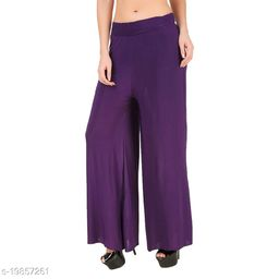 Lets Shine stylish Cheap & Best casual wear palazzo pant for females,Purple ( Size 28 to 36 & Free Size)