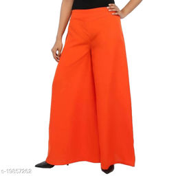 Lets Shine stylish Cheap & Best casual wear palazzo pant for females,Orange ( Size 28 to 36 & Free Size)
