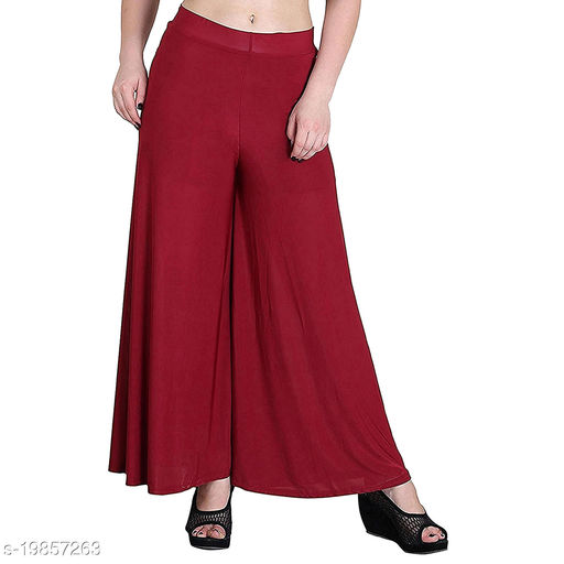 Lets Shine stylish Cheap & Best casual wear palazzo pant for females,Maroon ( Size 28 to 36 & Free Size)