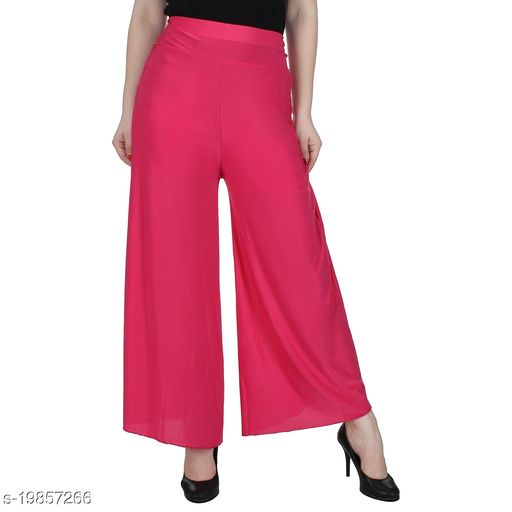 Lets Shine stylish Cheap & Best casual wear palazzo pant for females,Pink ( Size 28 to 36 & Free Size)